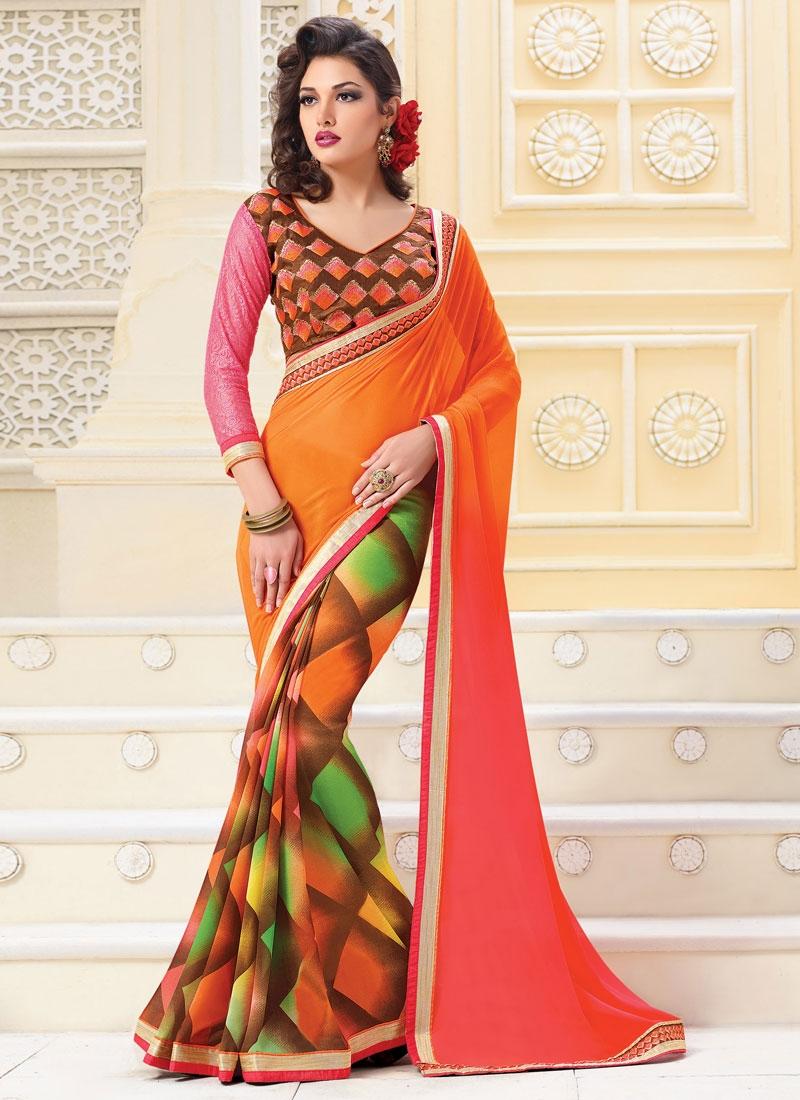 Aristocratic Orange Color Lace Work Casual Saree