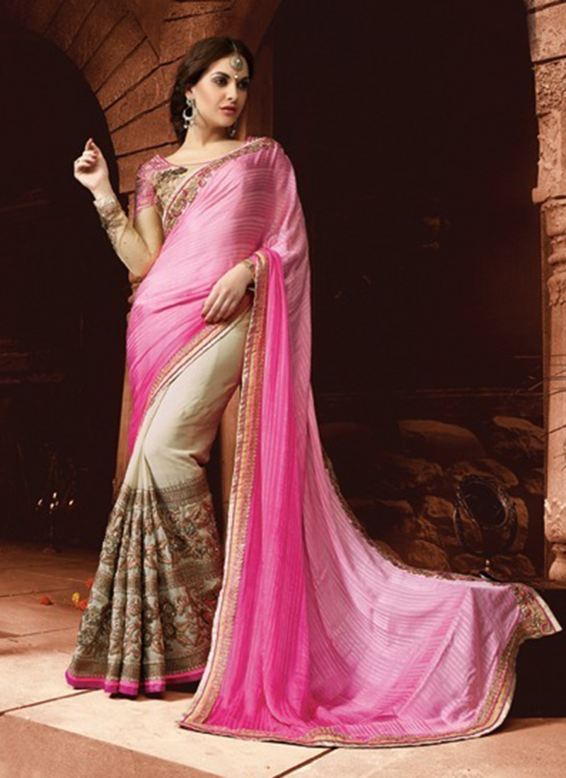 Aristocratic Patch Border Work Half N Half Designer Saree