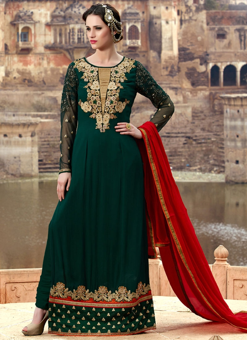 Aristocratic Patch Border Work Long Length Pakistani Salwar Kameez
