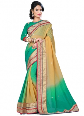 Aristocratic Patch Border Work Viscose Designer Saree