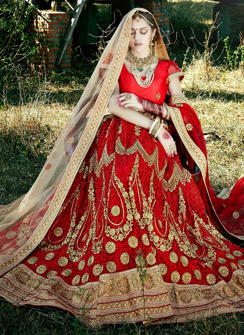 Aristocratic Red Color Stone Work Bridal Lehenga Choli