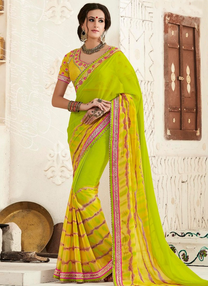 Aristocratic Resham And Lace Work Party Wear Saree