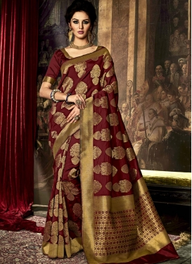 Aristocratic Resham Work Art Raw Silk Trendy Classic Saree