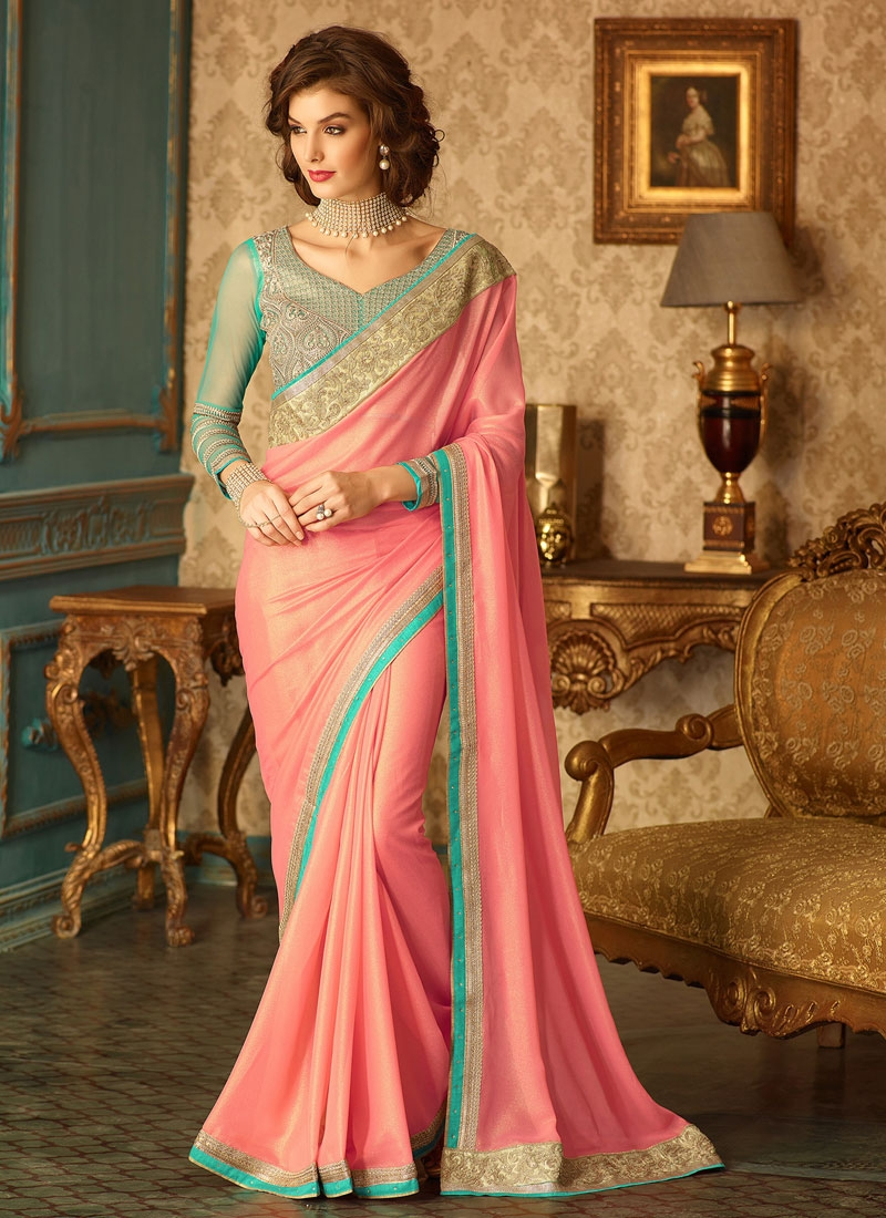 Aristocratic Salmon Color Party Wear Saree