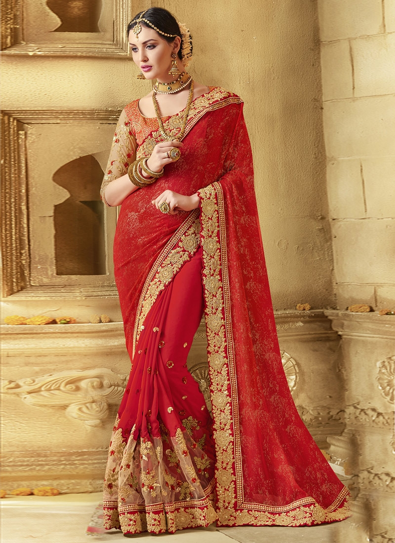Aristocratic Sequins Work Red Color Wedding Saree