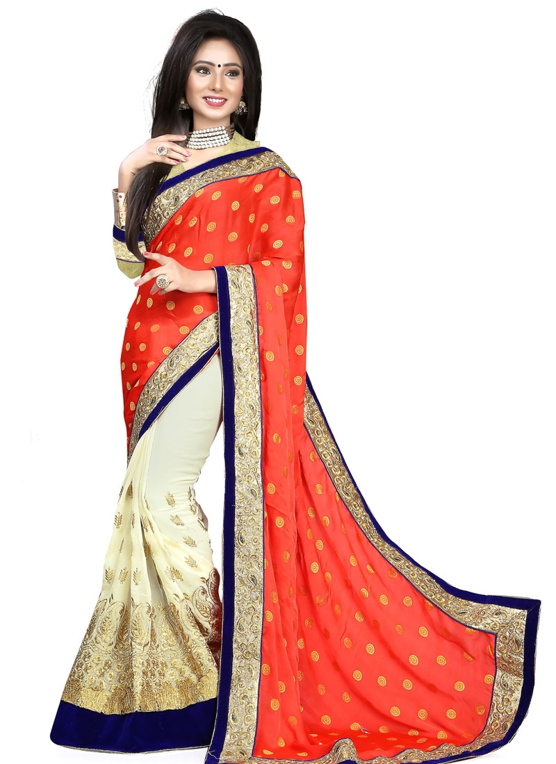 Aristocratic Velvet Patch And Stone Work Half N Half Designer Saree
