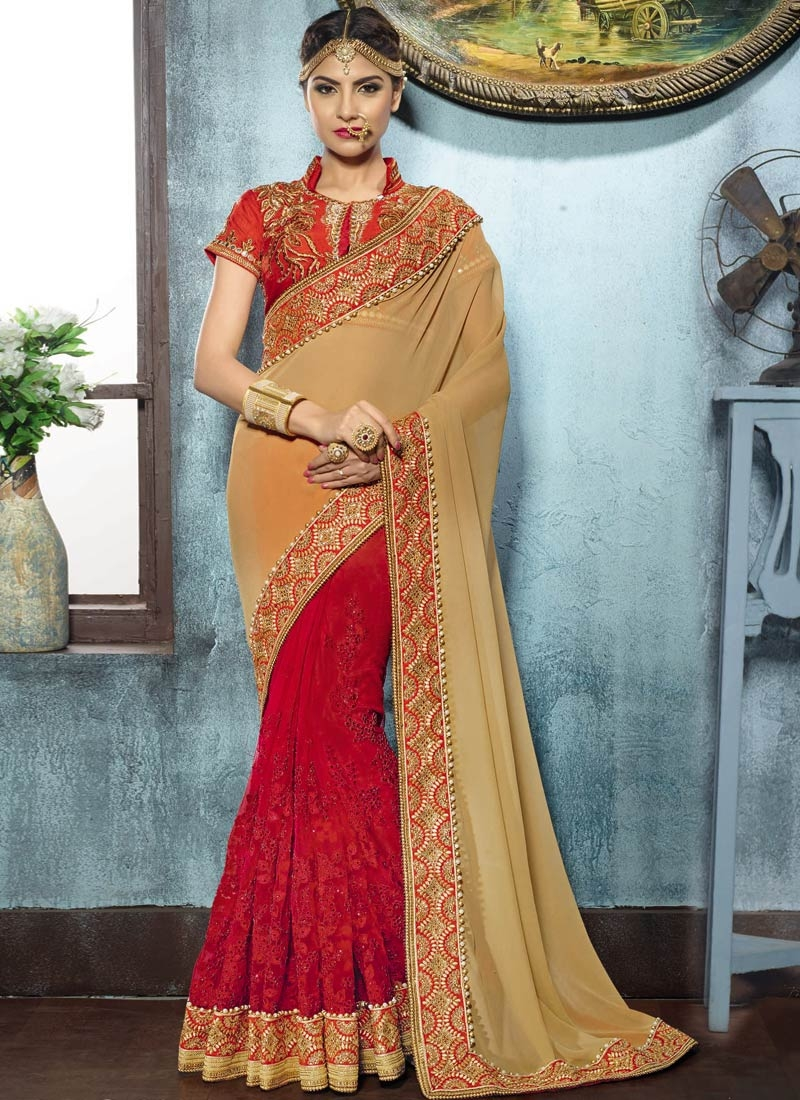 Arresting Beads And Stone Work Half N Half Wedding Saree