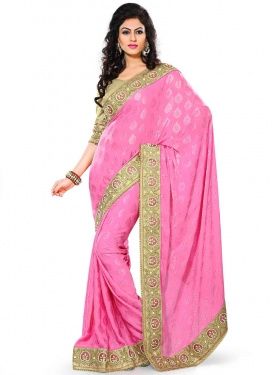 Arresting Beads Work Jacquard Party Wear Saree
