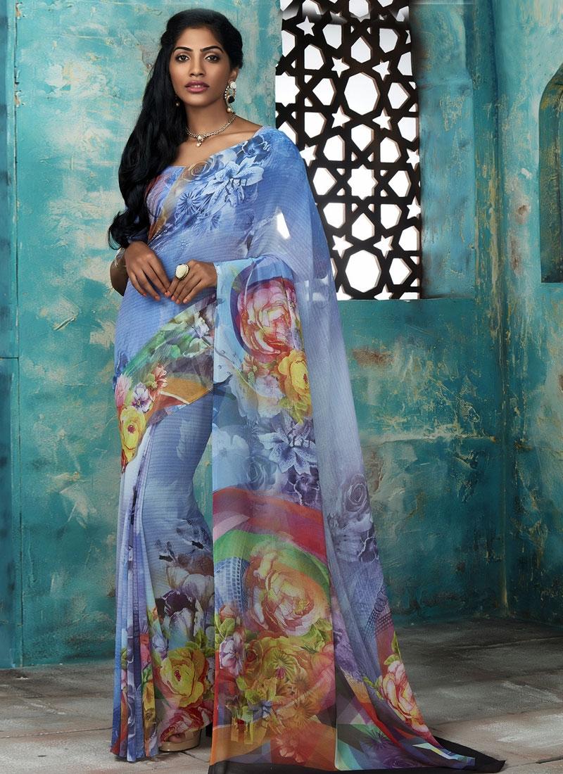 Arresting Blue Color Casual Saree