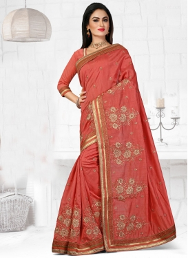 Arresting Booti And Resham Work Designer Saree