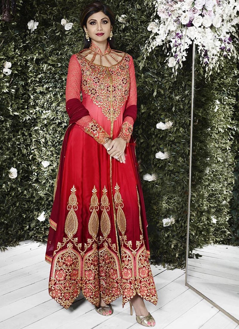 Arresting Booti Work Shilpa Shetty Wedding Salwar Suit