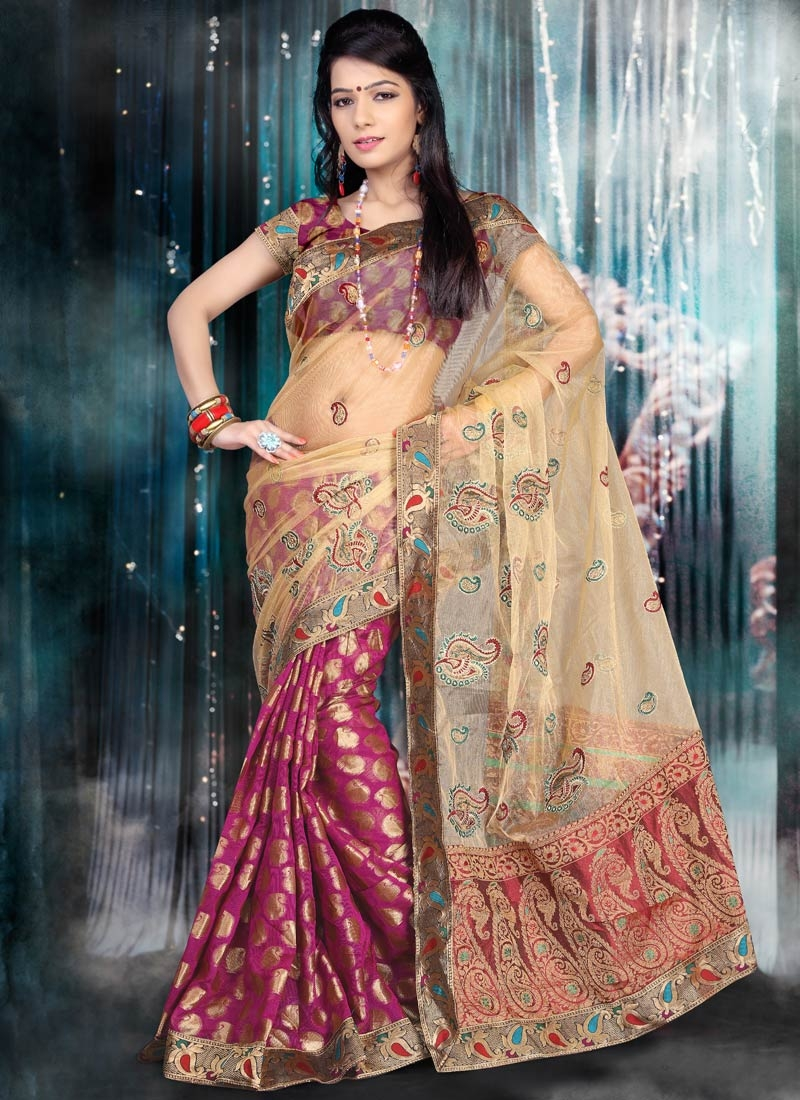 Arresting Chanderi Cotton And Net Half N Half Party Wear Saree