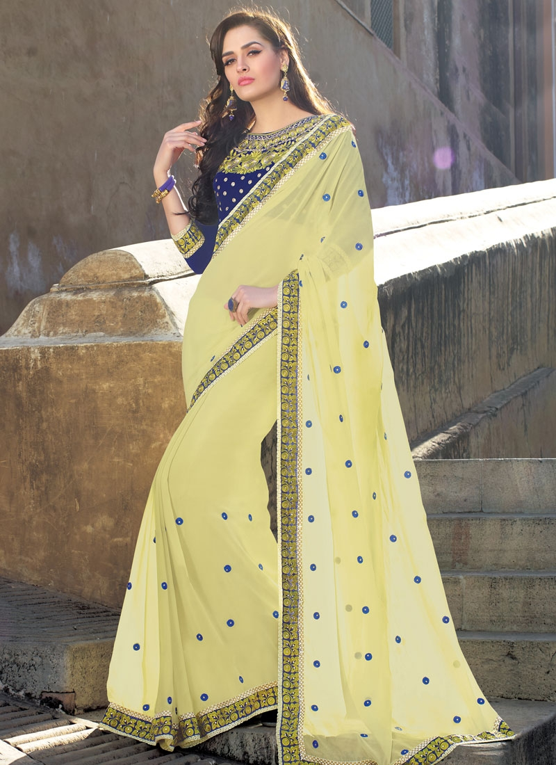 Arresting Cream Color Reaham Work Party Wear Saree