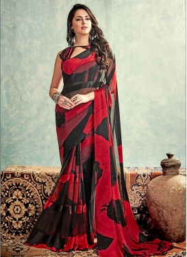 Arresting Digital Print Work Faux Georgette Classic Saree