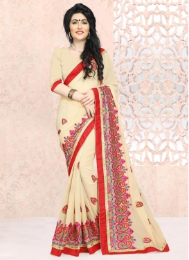 Arresting Faux Georgette Booti Work Trendy Classic Saree
