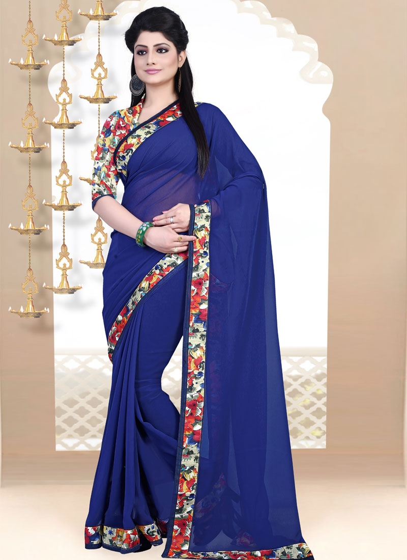 Arresting Faux Georgette Lace Work Casual Saree