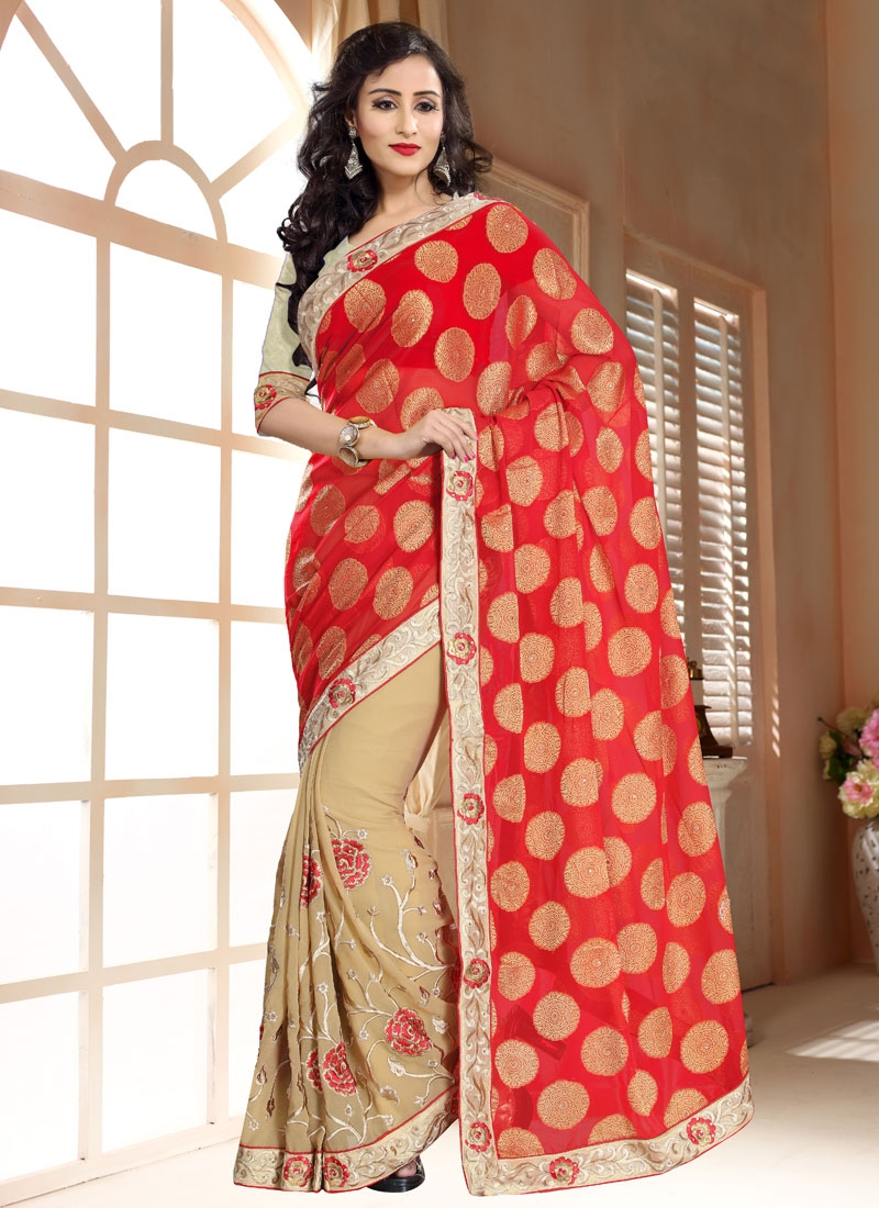 Arresting Faux Georgette Lace Work Half N Half Party Wear Saree
