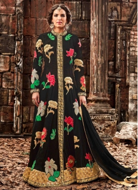 Arresting  Floral Work Long Length Designer Suit