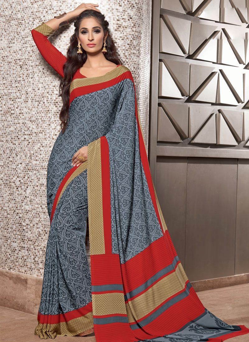 Arresting Grey And Red Color Crepe Silk Casual Saree