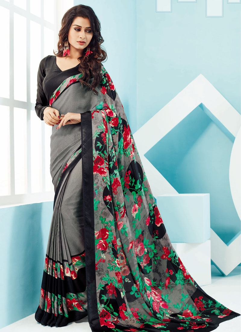 Arresting Grey Color Digital Print Work Casual Saree