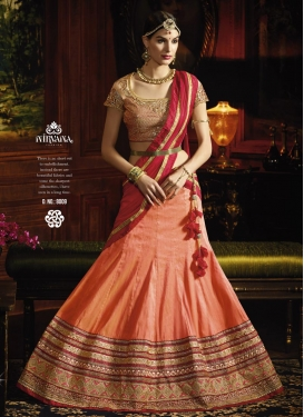 Arresting Lace Work Silk Trendy Lehenga Choli