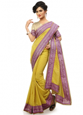 Arresting Lace Work Viscose Designer Saree