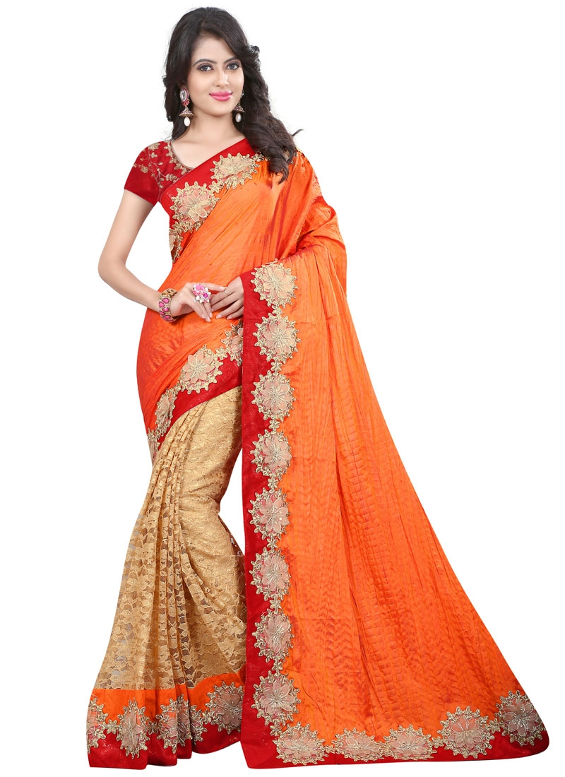 Arresting Orange Color Net And Crush Half N Half Wedding Saree