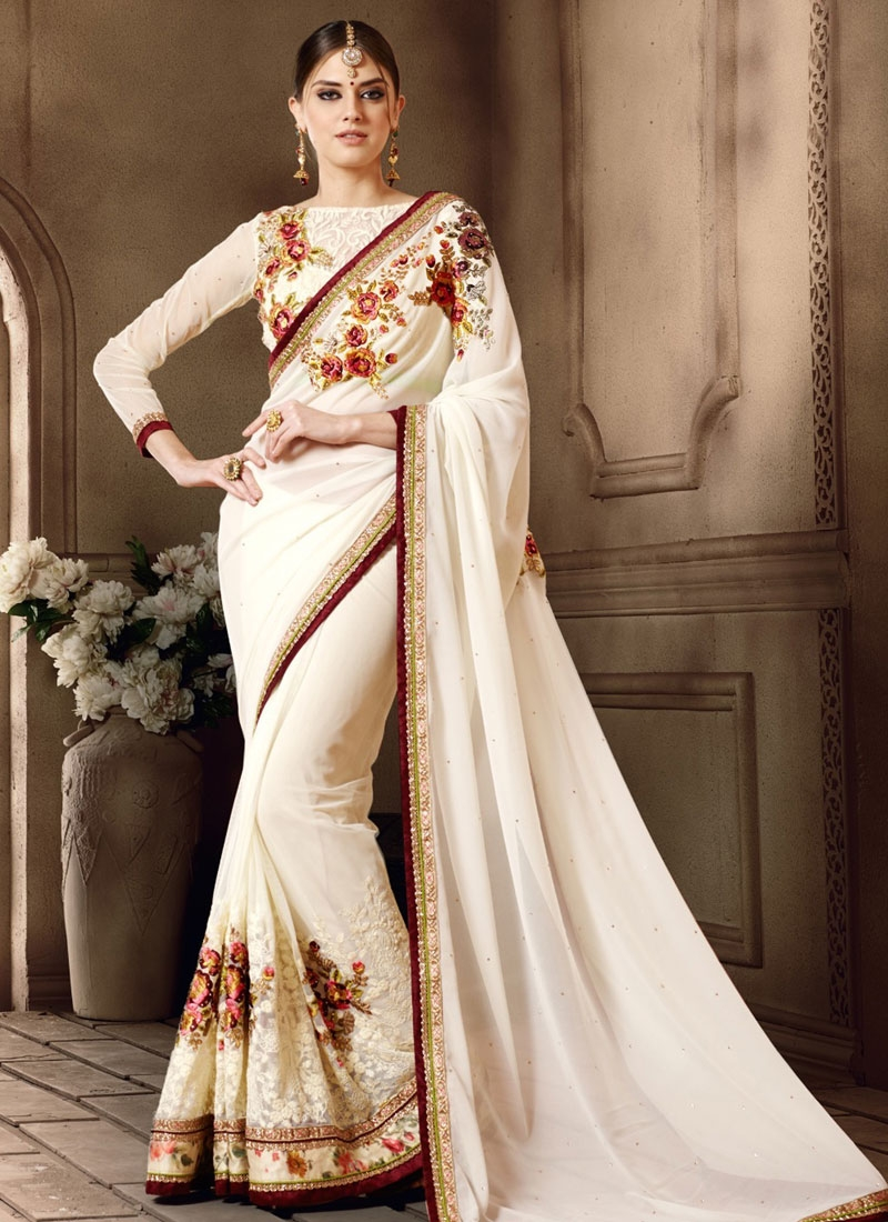 Arresting Pure Georgette White Color Designer Saree
