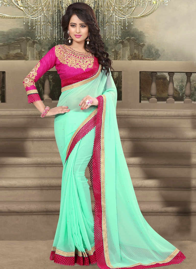 Arresting Resham And Stone Work Party Wear Saree