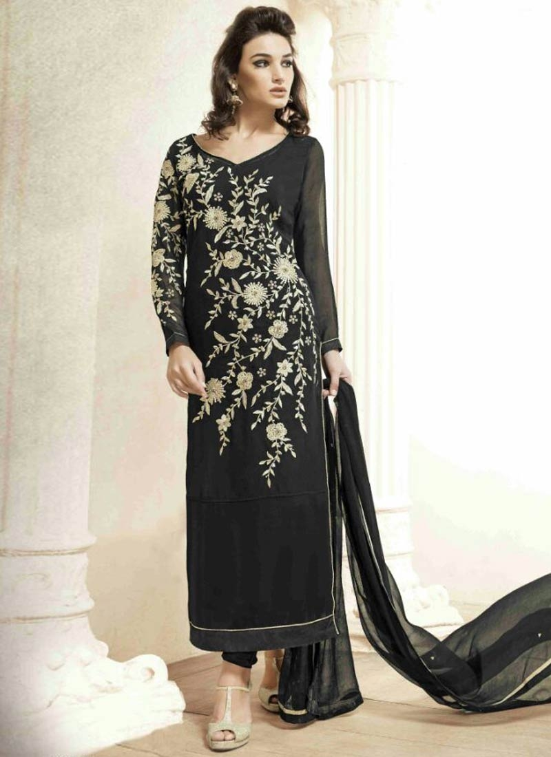 Arresting Resham Work Black Color Pakistani Salwar Suit