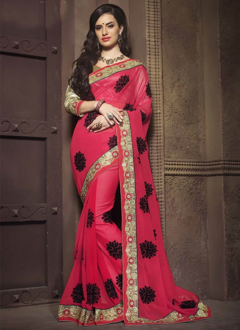 Arresting Rose Pink Color Pure Georgette Designer Saree