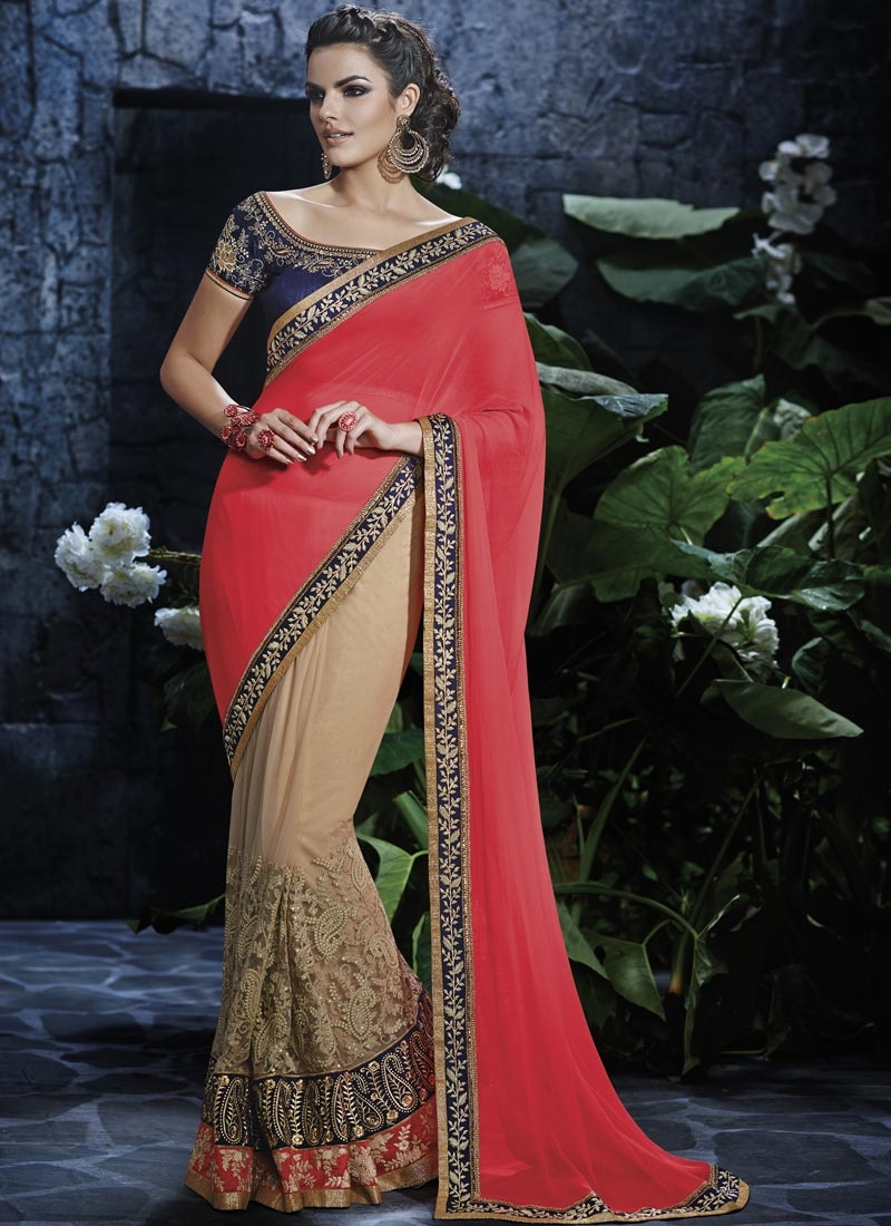 Arresting Sequins Work Half N Half Designer Saree