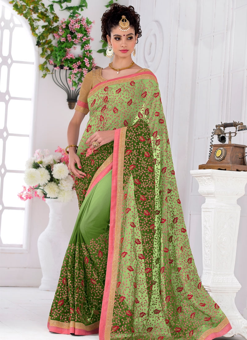 Arresting Sequins Work Party Wear Saree