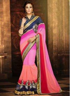 Arresting Stone And Booti Work Party Wear Saree