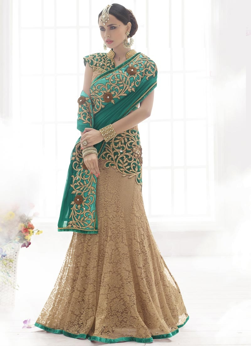 Arresting Stone And Resham Work Designer Lehenga Saree