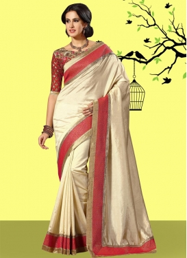 Art Dupion Silk Cream and Red Traditional Saree