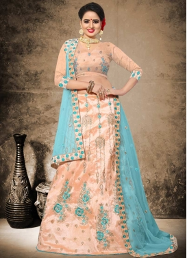 Art Silk Aari Work A Line Lehenga Choli