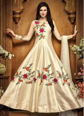 Art Silk Aari Work Ankle Length Kalidar Salwar Suit