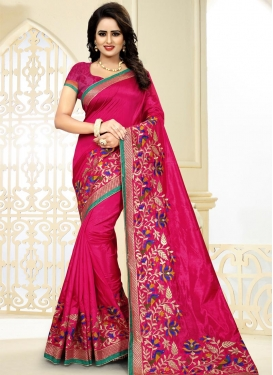 Art Silk Aari Work Traditional Saree