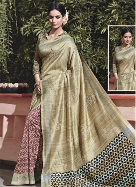 Art Silk Abstract Print Work Beige and Purple Half N Half Trendy Saree For Ceremonial