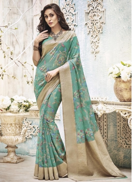 Art Silk Aqua Blue and Beige Resham Work Trendy Saree