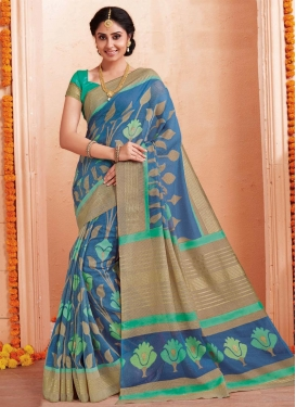 Art Silk Aqua Blue and Light Blue Contemporary Style Saree