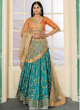 Art Silk Aqua Blue and Orange A Line Lehenga Choli