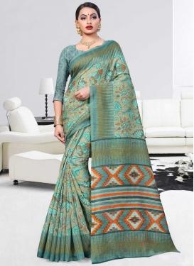 Art Silk Aqua Blue and Sea Green Traditional Saree