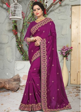 Art Silk Beads Work Contemporary Style Saree