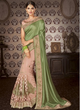 Art Silk Beads Work Half N Half Designer Saree