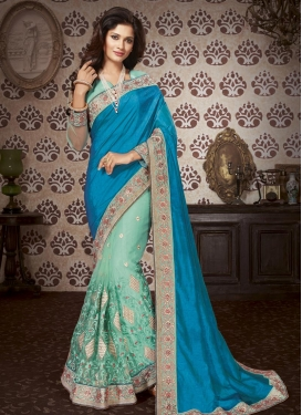Art Silk Beads Work Half N Half Saree