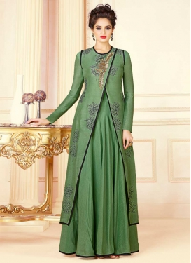 Art Silk Beads Work Readymade Floor Length Gown