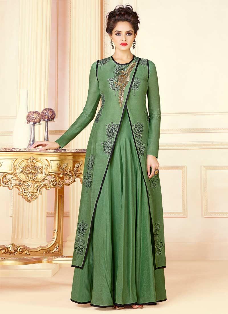 94b99dbe3d Buy Art Silk Beads Work Readymade Floor Length Gown Online