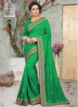 Art Silk Beads Work Traditional Designer Saree